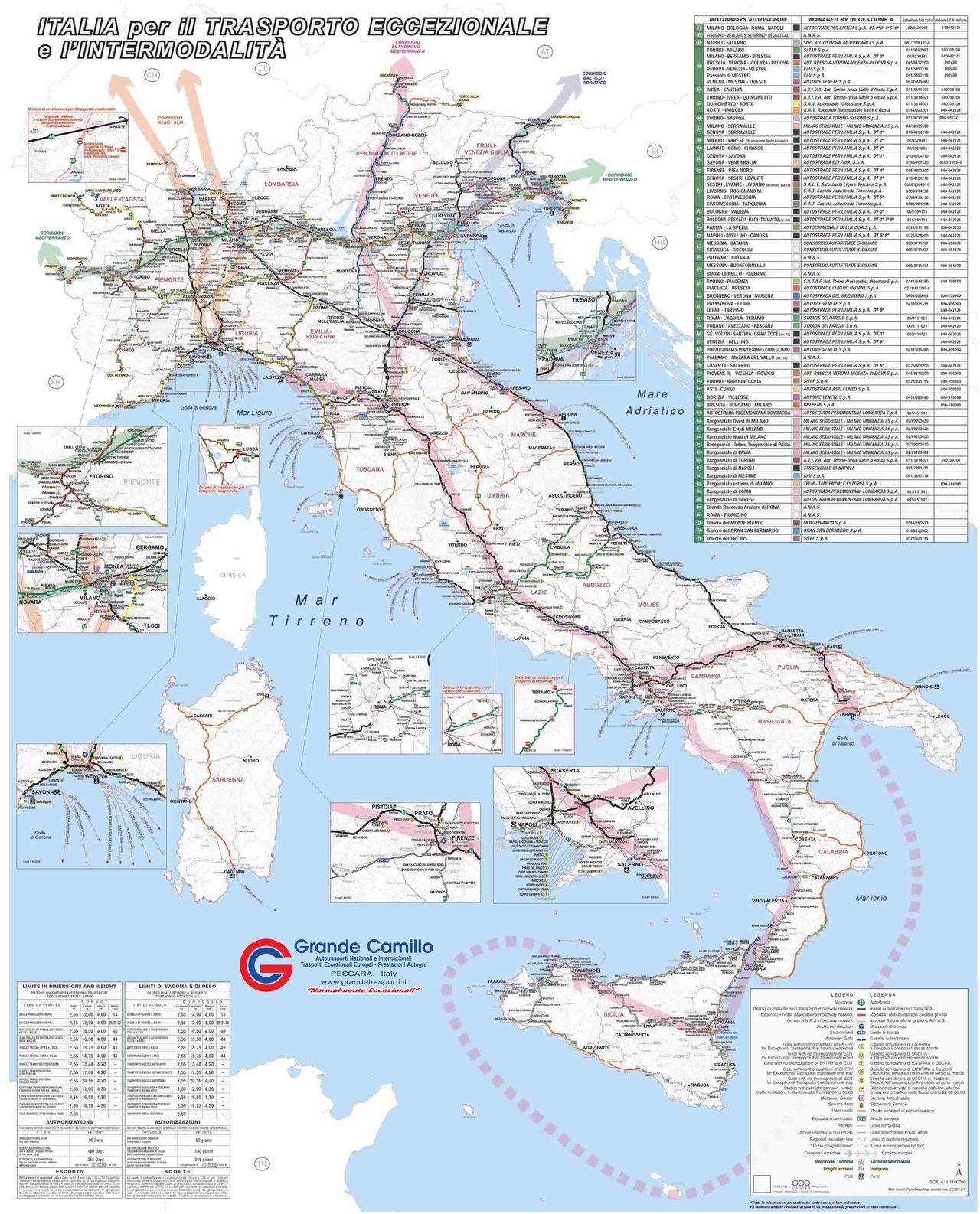 Italia per il trasporto intermodale/eccezionale