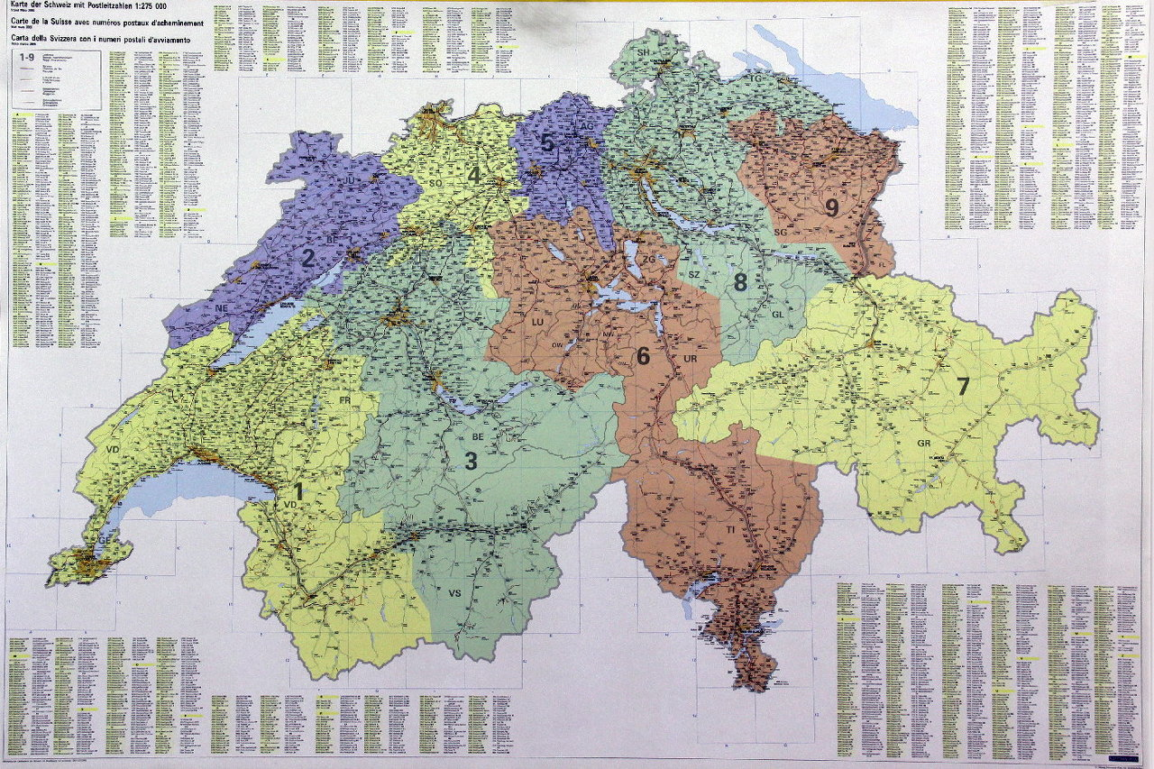 Svizzera con codici postali